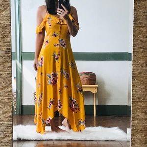 Boho Golden Yellow Off shoulder Maxi dress